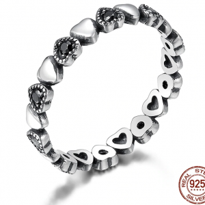 Real Silver Ring - Black CZ